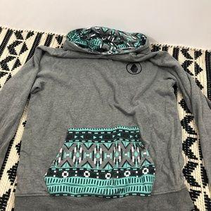 Volcom Tribal Print Grey Hoodie Size L